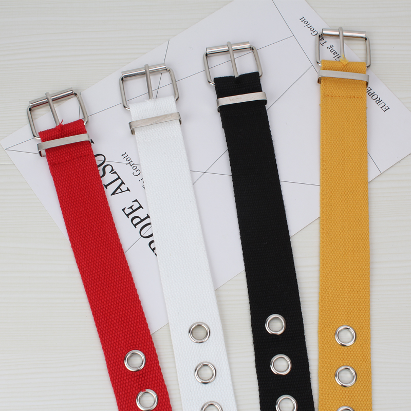 Long Personality Harajuku Casual Ring Black Metal Belt Students Jean Canvas Waist Belts Tide Silver Pin