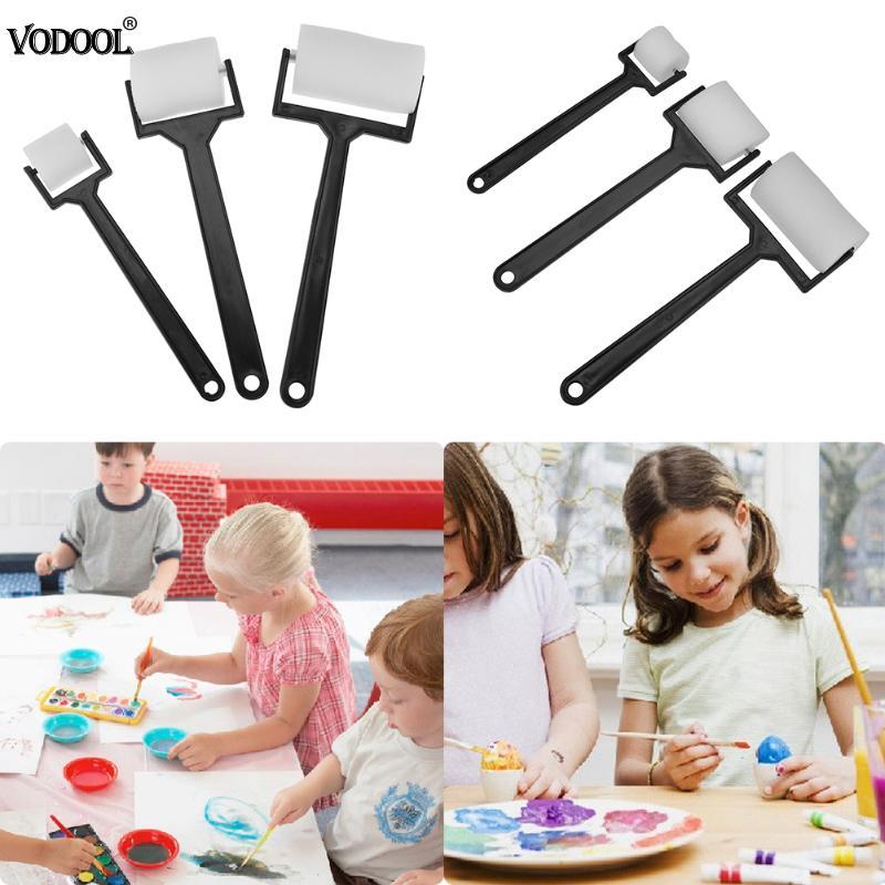 3Pcs/Set School Stationery Set Painting Sponge Roller Brushes Kids Art Drawing Graffiti Tools Plastic Handle DIY Craft Tool