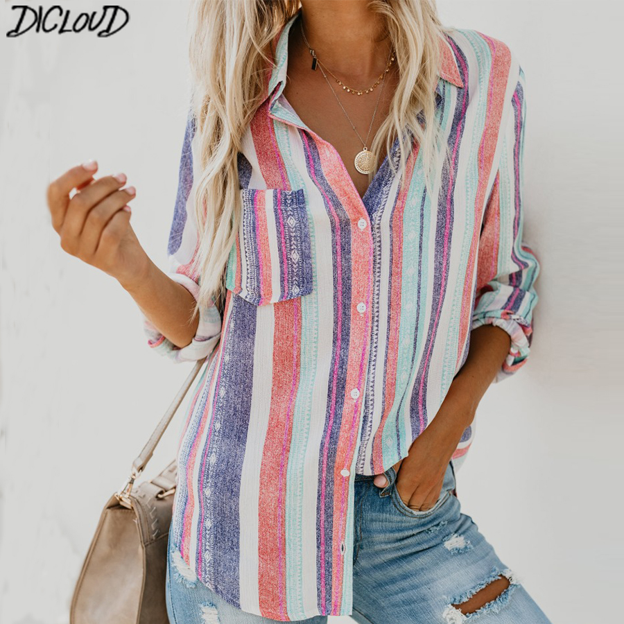 Striped Printed Casual Shirt Women Rainbow Pocket Button Long Sleeve Summer Tops Ladies Fashion Plus Size Shirts Female XXL-in Blouses & Shirts from Women's Clothing on AliExpress - 11.11_Double 11_Singles' Day 1