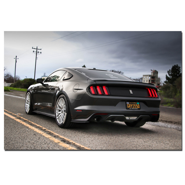 Ford Mustang Back View Auto Poster Canvas Cloth Fabric Print For Home Decor  Wall Art Poster