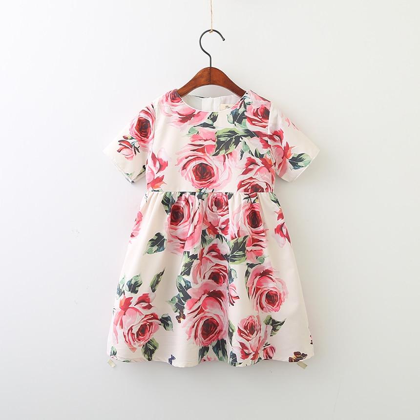Kids Spring Summer Lolita Dresses Children Flower Floral Clothes Princess Wholesale Baby Boutique Cute Clothing Girls 6pcs/LOT