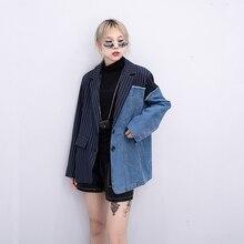 2019 Women Blazer Streetwear Jeans Jacket Splice c