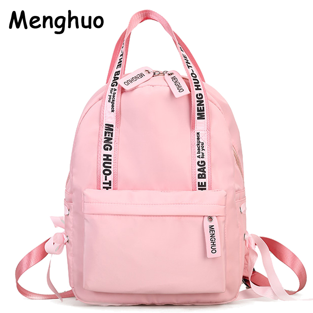 Menghuo Large Capacity Backpack Women Preppy School Bags For Teenagers Female Nylon Travel Bags Girls Bowknot Backpack Mochilas