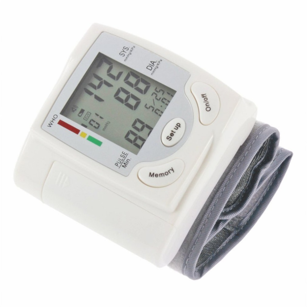 LCD Display Sphygmomanometers pulsometer Wrist Blood Pressure Monitor Heart Beat Rate As picture send free gift 4