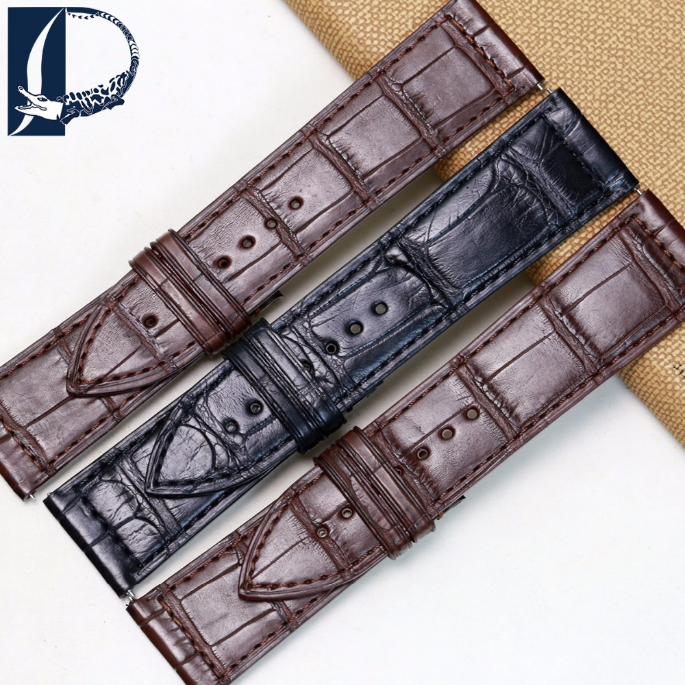 Pesno Black Brown Watchband  Alligator Skin Leather Watch Strap 30x22mm 26x19mm 24x22mm Suitable for Franck Muller franck muller часы franck muller 6002 m qz r steel