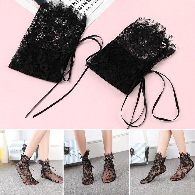 Womens Luxurious Eyelash Lace Ribbon Socks Ladies Transparent Floral Mesh Bow Fishnet Sock Woman