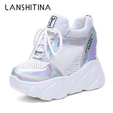 2019 New Women High Platform Shoes Summer Breathable Women Height Increased Shoes 10CM Thick Sole Trainers Bling Sneakers Woman