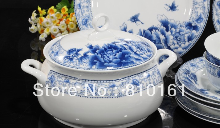 bone china 56PCS! ceramic porcelain tablewaredinnerware setpottery bowls dishesplateskitchen dinnerware+free shipping-in Dinnerware Sets from Home ... & bone china 56PCS! ceramic porcelain tablewaredinnerware setpottery ...