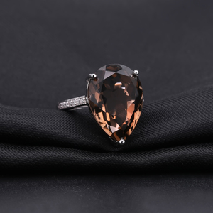 Image 2 - Женские коктейльные кольца с драгоценным камнем, серебряное обручальное кольцо с натуральным дымчатым кварцем, ювелирное изделие для женщин, 10.68ct