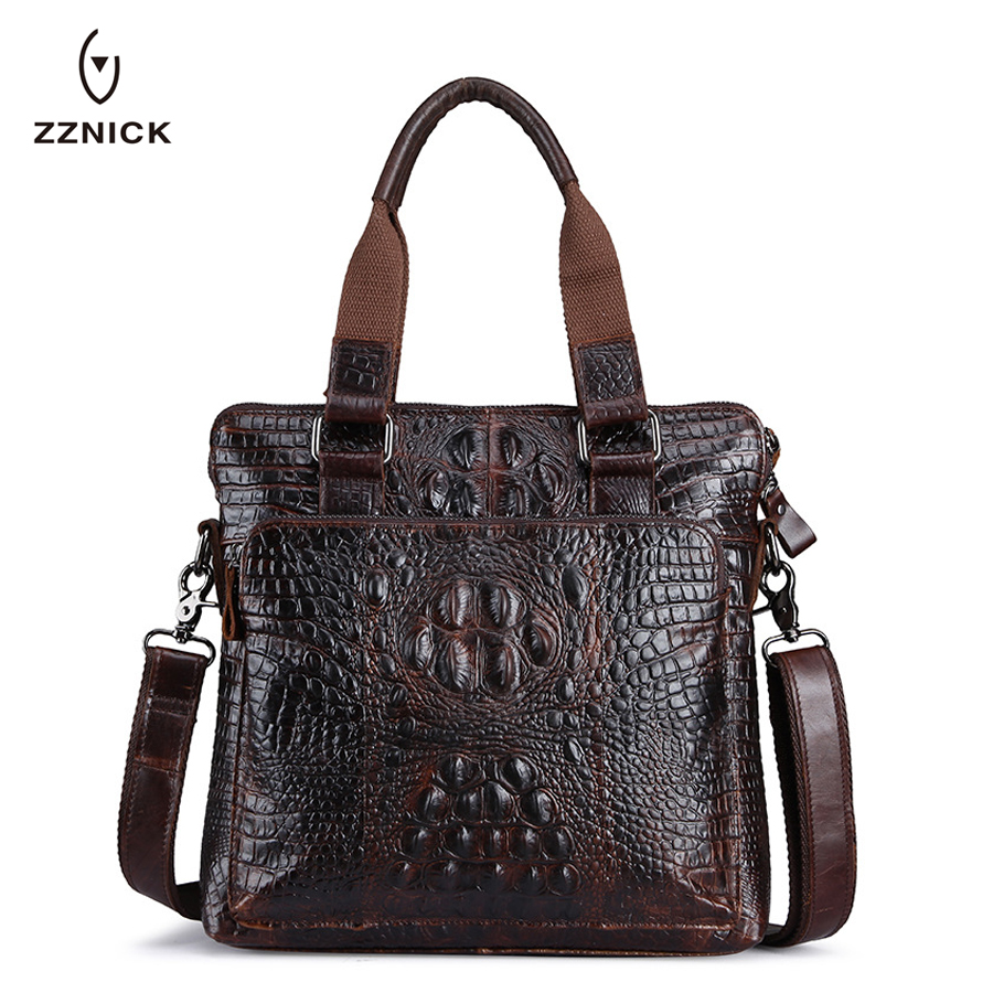 ZZNICK Fashion Crocodile Soft Real Leather Men Bag Small Shoulder Travel Crossbody Bags Male messenger bag for man 0180* zznick 2017 genuine leather bag men crossbody bags fashion men s messenger leather shoulder bags handbags small travel male bag