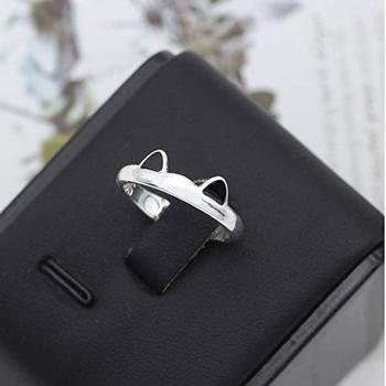 Silver Color Cat Ear Finger Ring Open Design Cute Fashion Jewelry Ring For Women Young