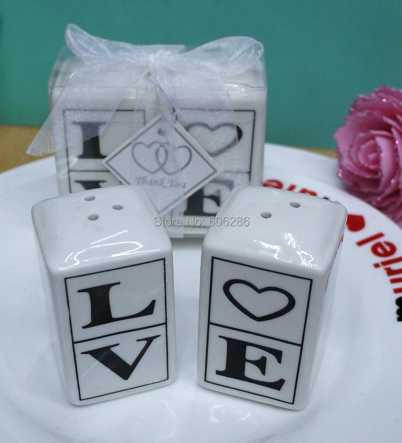 100pairs / lot מתנות חתונה סיטוני לאורח של מלח קרמיקה אהבה פלפל שייקר טובות מזכרות