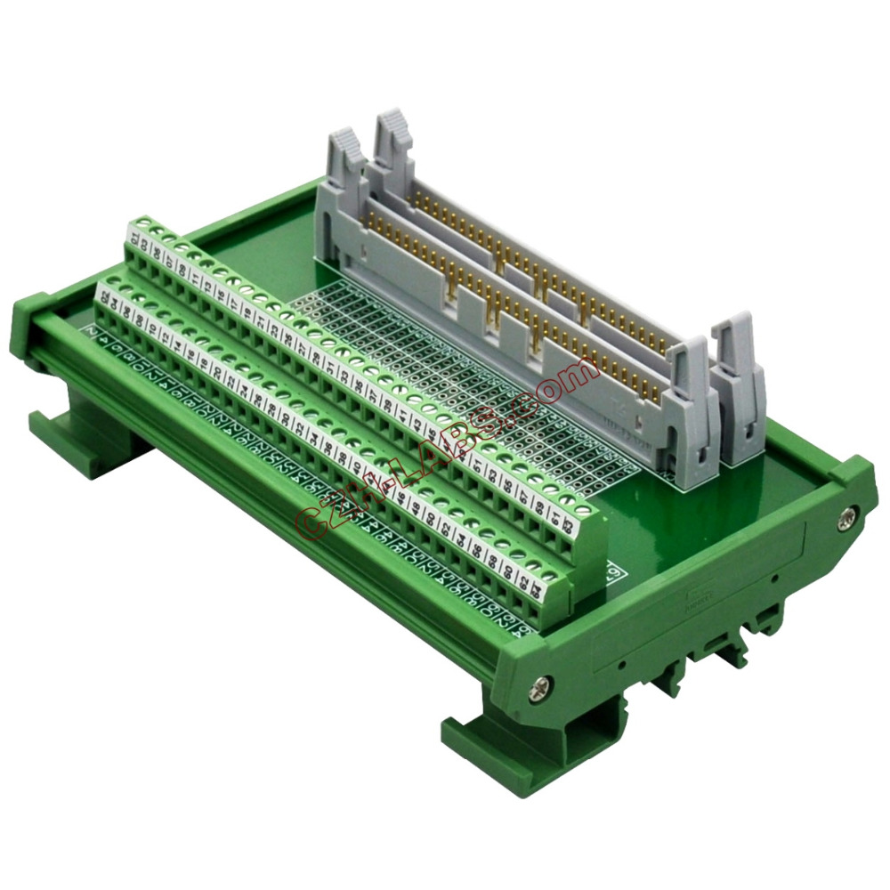 CZH-LABS DIN Rail Mount Dual IDC64 Pitch 2.54mm Male Header Interface Module Breakout Board.CZH-LABS DIN Rail Mount Dual IDC64 Pitch 2.54mm Male Header Interface Module Breakout Board.
