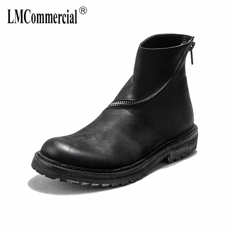 new autumn winter British retro men high-top shoes all-match cowhide hick bottom zipper boots leisure Martin men breathable male new winter boots martin male tide high velvet warm shoes men british short boots all match cowhide cashmere men s casual shoes