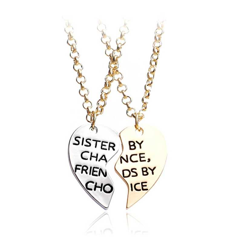 ceba81468c ... 1 Pair Best Friends Necklace Women Carved