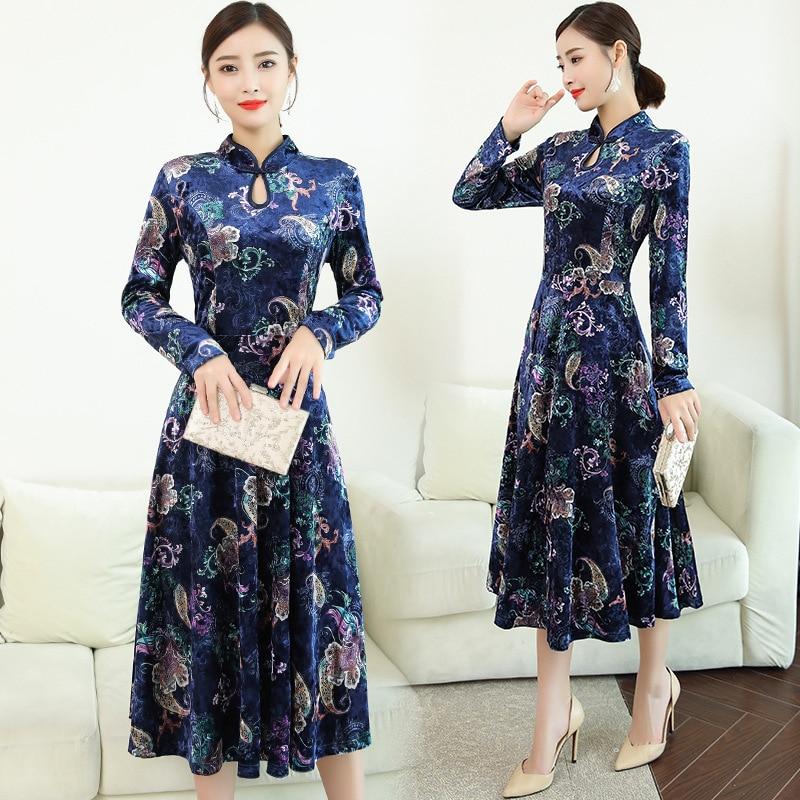 2018 automne hiver vêtements pour femmes velours robe grande taille grand xxl xxxl 4xl fête bleu robes élégant rétro chinois Vestido
