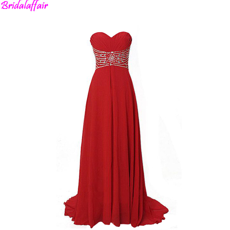 Red Chiffon Evening Gown A Line Floor Length Long Dress Sweep Train Prom dress Dresses Party