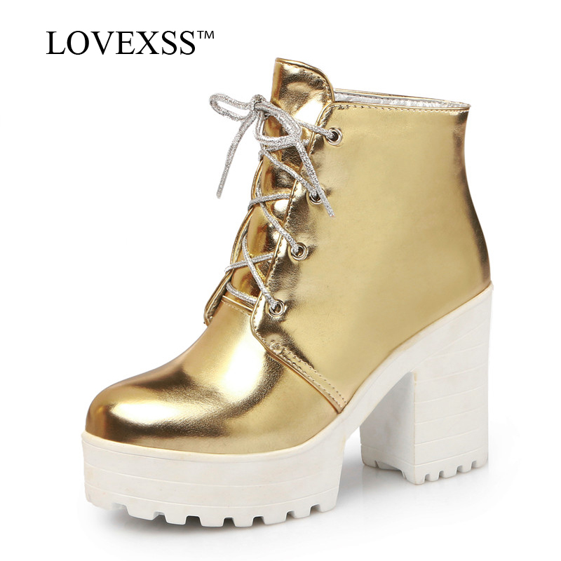 LOVEXSS Woman Golden Ankle Boots Autumn Winter Silver High Heeled Shoes Fashion Plus Size 33 - 44 Lace Up Ankle Boots 2018 lovexss woman genuine leather ankle boots autumn winter high heeled shoes fashion plus size 32 43 black work chelsea boots