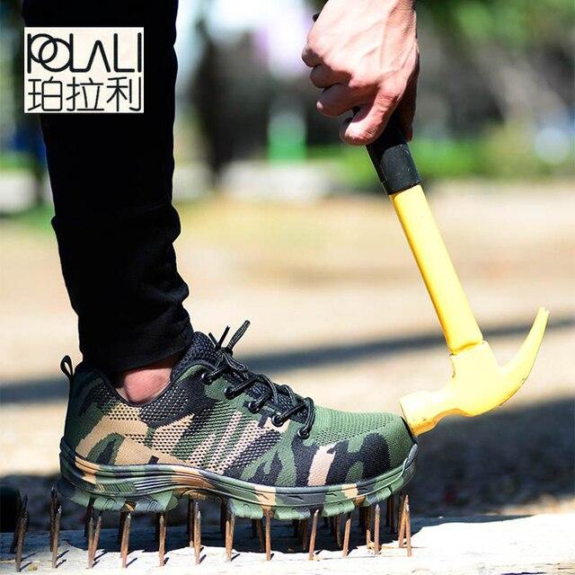 Erkekler İş güvenliği botları Moda Kamuflaj Bahar Nefes Örgü Çelik Ayak rahat ayakkabılar Erkek Emek Sigorta Delinme Geçirmez Ayakkabı