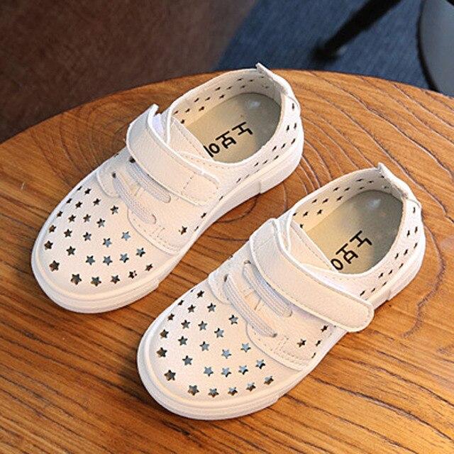 Kids Shoes 2017 весенние Мальчики Shoes Вырез Звезды Дети Причинным Shoes Девушки Кроссовки Кожа Малышей Обувь
