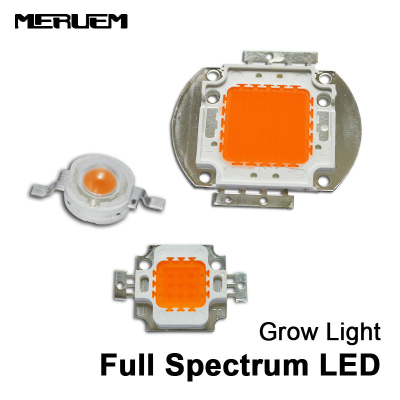 Hüdropooniline 1W / 3W 10W / 30w / 50W / 100w Led Grow light Chip Epistar Bridgelux kiibi täisspekter 400nm - 840nm toataimede kasvatamiseks