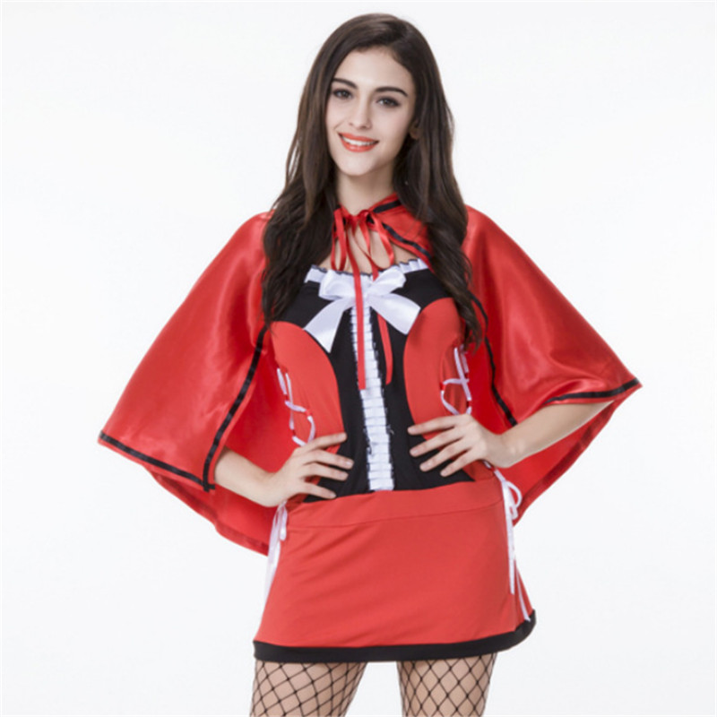sexy Little Red Riding Hood Costume for Women Halloween Party club princes Cosplay Fantasia Carnival Fairy Tale Girl Dress+Cloak