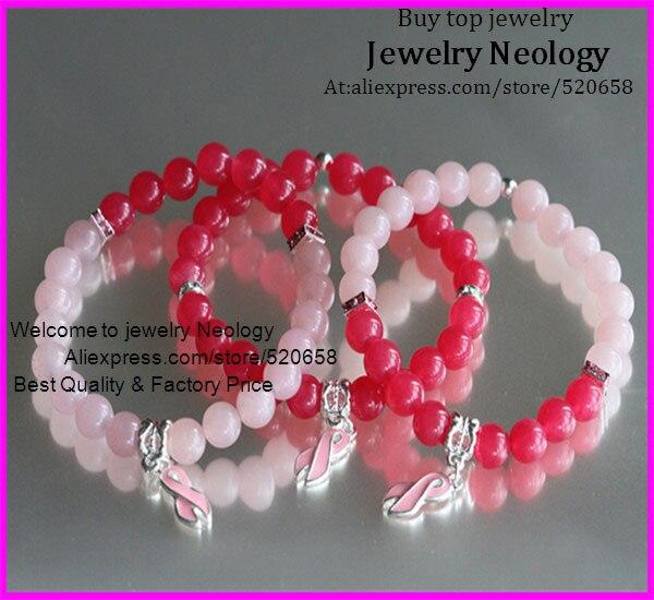 5set ,15pcs Fashion Jewelry rose and pink bead stretch bracelet AKA style, Ribbon Breast Cancer Awareness pendant bracelet