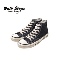 Walk Stone Casual Original Men Vulcanize Shoes Cool Punk Simple Lace Up High Top Denim Canvas Shoes For Male Comfort Flats Tenis