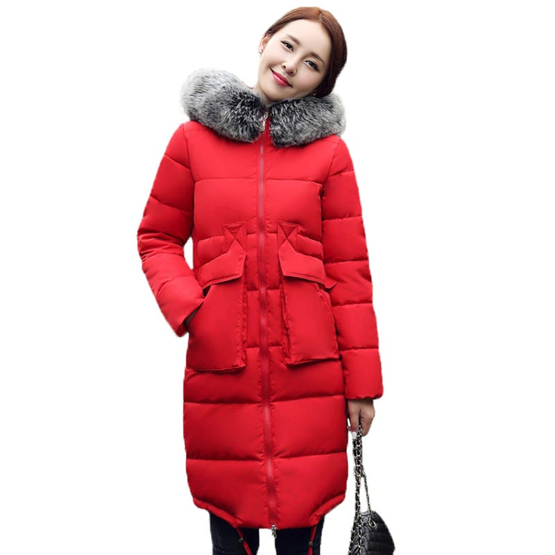 2016 Long Down Cotton Jacket Women New Winter Jacket Large Fur Collar Thickening Padded Coat Hooded Slim Outerwear Female PW0237 3 colors l 2xl 2015 new women winter down cotton padded coat female long hooded wide waisted jacket zipper outerwear zs247