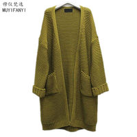 2015 Korean Style Fashion Women Long Sweaters Cardigan Autumn Winter Casual Long Sleeve Knitted Sweaters Coat