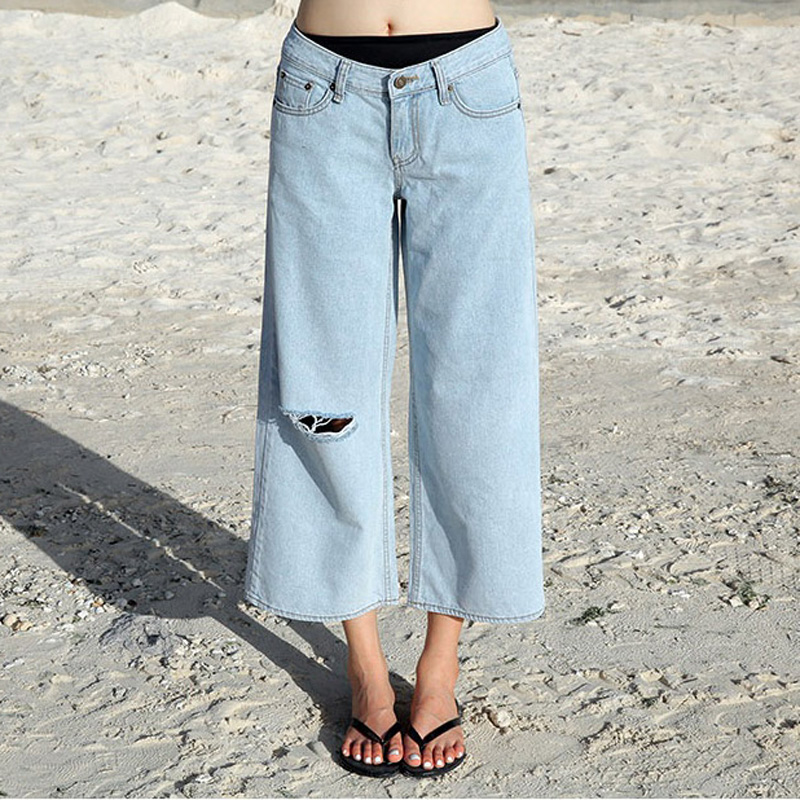 Women's casual loose large size wide leg crop pants Lady's hole ripped  jeans Capri Light blue ninth pants - Ripped Jeans Capris Promotion-Shop For Promotional Ripped Jeans