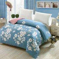 Nowy 100% bawełna kołdra kołdra okładka Drukowana kolorowy pled case dla łóżko podwójne pełne król queen size krótkie niebieski biały kwiat styl