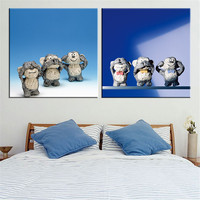 HD Three Monkey Wall Painting Print On Canvas Cartoon Animal Home Decor Cuadros Painting For Child