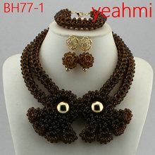 Moda zestaw biżuterii druhna kwiat Choker naszyjniki zestaw kolczyków nigeryjczyk afrykańskie koraliki biżuteria ślubna zestaw kryształ BH77-2 tanie tanio Zestawy biżuterii TRENDY Mężczyźni Kobiety Ślub yeahmi Ze stopu cynku Necklace Bracelet earrings Naszyjnik kolczyki bransoletka
