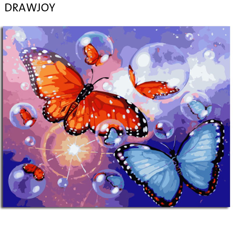 DRAWJOY Framed Oil Paint DIY Painting By Numbers Coloring By Numbers Butterfly Home Decoration 40*50cm
