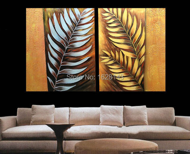 New Arrival 2 Pieces Textured Hand Painted Modern Oil Painting Gold Silver Palm Leaf Art On