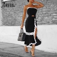 INDRESSME 2017 Fashion Strapless Cut Out Fishtail Banadge Women Dress Evening Long Dress Summer Wholesale