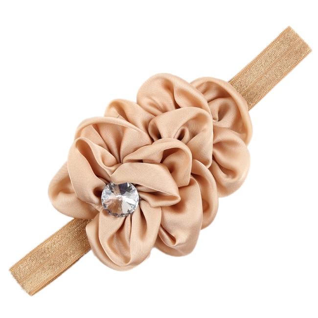 YOST  Bandeau des Fleurs pour Bebes Filles Mousseline de Soie Beaute(brun clair)
