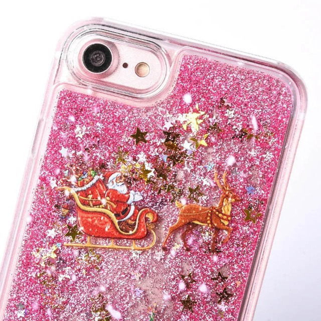 KMAX Phone Hard Case Christmas Gift For iPhone 5 5s 5se 6 6S 7 8 Plus For Samsung S5 S6 S7 Edge Glitter Liquid Quicksand cheap 3