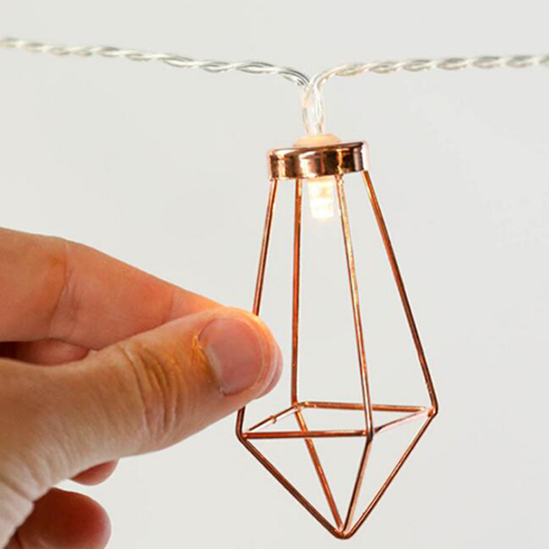 1.523 Meter Metal Lanterns Lamp Rose Gold Light String Garland Battery Powered Backyard Wire Light for Christmas Outdoor Decor (10)