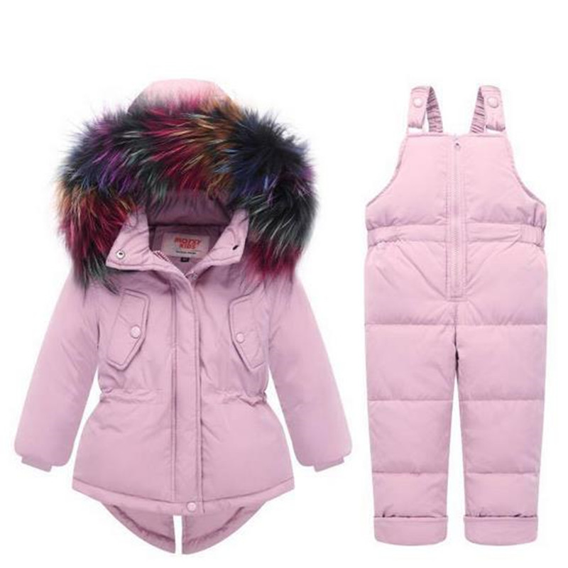 High Quality Winter Children Clothing Set 80% Down Jacket Coat+Overalls Baby Boys Girls Thick Warm Outerwear Fur Collar недорго, оригинальная цена