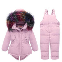 High Quality Winter Children Clothing Set 80% Down Jacket Coat+Overalls Baby Boys Girls Thick Warm Outerwear Fur Collar