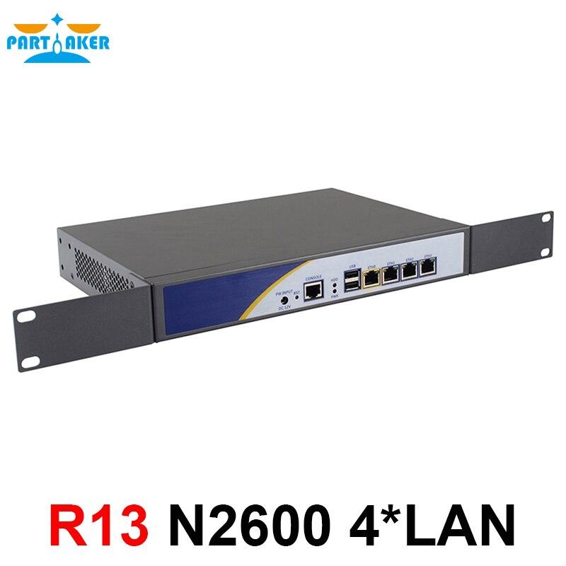 Partaker R13 4 * RJ45 1000 m LAN support Routeur de Pare-Feu réseau serveur avec intel N2600 fanless soutien PFSense