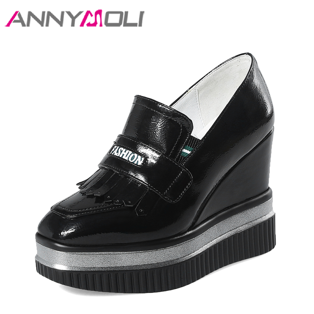 ANNYMOLI Platform High Heels Women Pumps Square Toe Tassel Wedge Heels Black PU Patent Leather Platform Wedges Shoes White Black nayiduyun women casual shoes low top platform wedge high heels boots round toe slip on pumps punk chic shoes black white sneaker