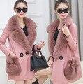 New 2016 Winter Female Fashion Medium Long Top Fur Coat Long Sleeve Loose Leather Jacket 2 Colors