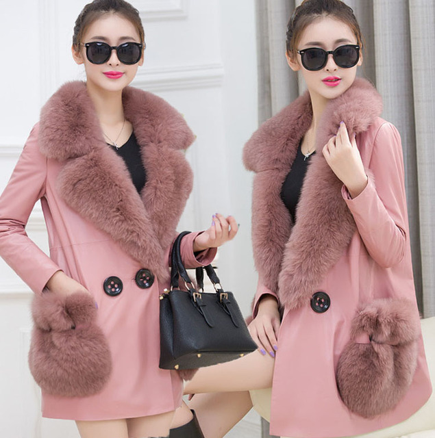 New 2016 Winter Female Fashion Medium Long Top Fur Coat Long Sleeve Loose Leather Jacket 2 Colors