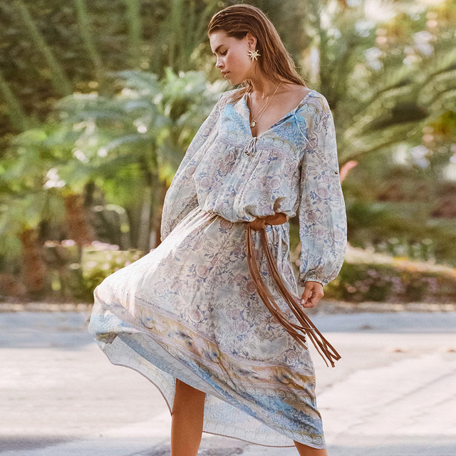 Gypsy Style Print Dress Vintage Oasis Boho Maxi Dresses Casual Beach Long Dress V-Neck Long Sleeve Women Dresses Vestidos 2019