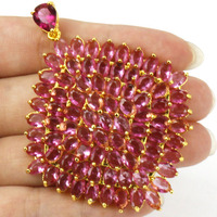 2017 New Long Big 82pcs Gems Pink Tourmaline SheCrown Woman's Gold 925 Silver Pendant 68x55mm