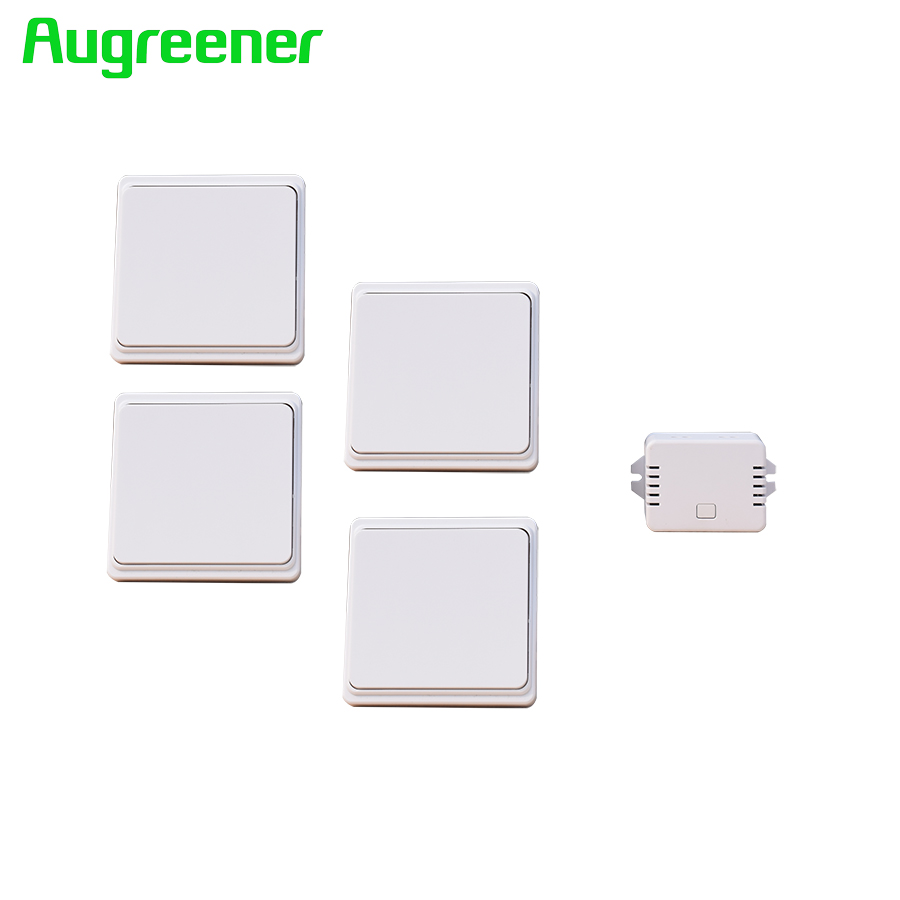 Augreener Wireless Wall Switch 4 Transmitters + 1 receiver 70 M Working Range Remote Control Light Switch 2pcs receiver transmitters with 2 dual button remote control wireless remote control switch led light lamp remote on off system