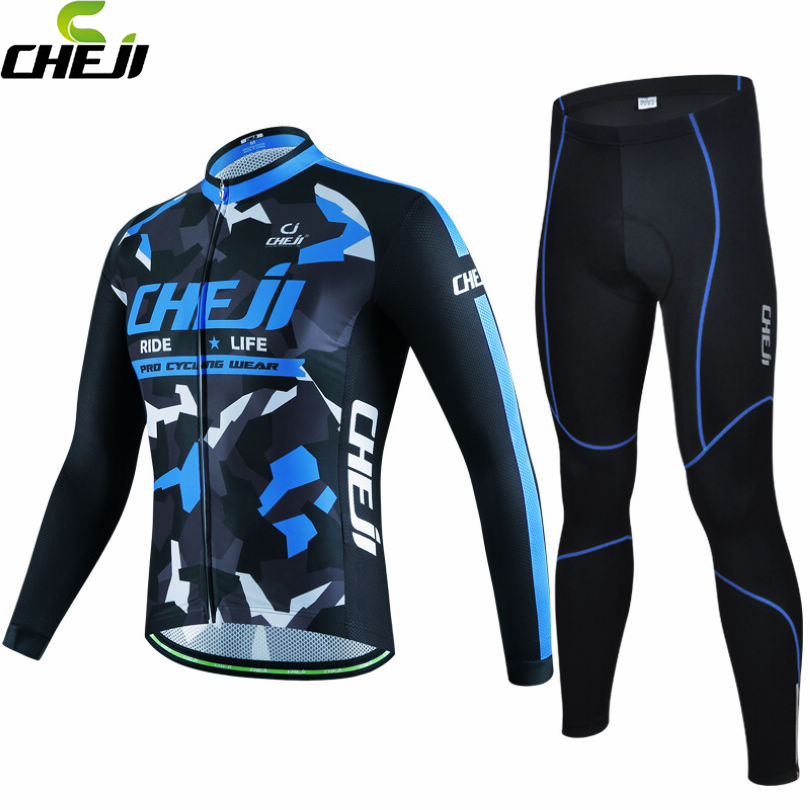 CHEJI Team Mens Ropa Ciclismo Cycling Jersey Jacket Pants Sets Long Sleeve Bicycle Wear Suit Riding Clothing Blue Print teleyi team cycling outfits mens ropa ciclismo long sleeve jersey bib pants kits bicycle jacket trousers set red black
